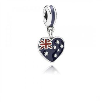 Pandora Australian Heart Flag Blue Red Enamel