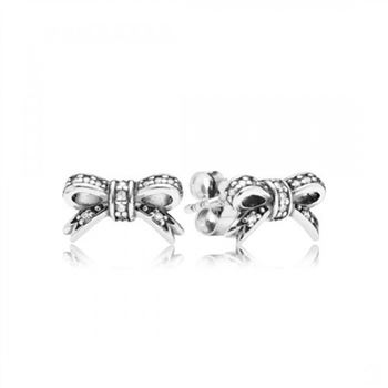 Pandora Sparkling Bow Stud Earrings Clear CZ
