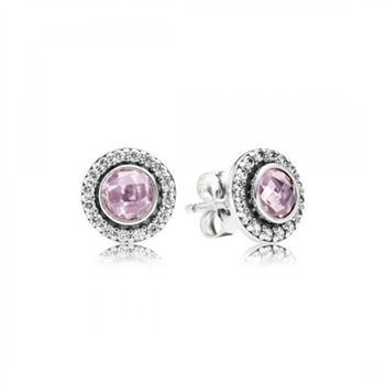 Pandora Brilliant Legacy Stud Earrings Pink Clear CZ