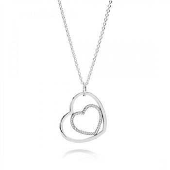 Pandora Heart To Heart Pendant Necklace Clear CZ