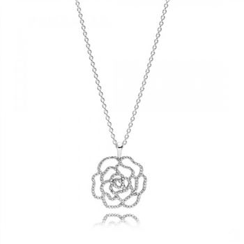 Pandora Shimmering Rose Pendant Necklace Clear CZ