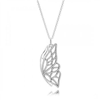 Pandora New Beginning Butterfly Pendant Necklace Clear CZ