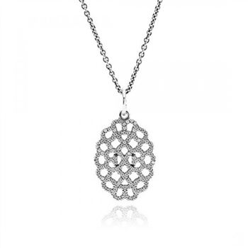 Pandora Shimmering Lace Pendant Necklace Clear CZ
