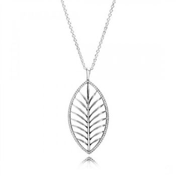 Pandora Tropical Palm Pendant Necklace Clear CZ