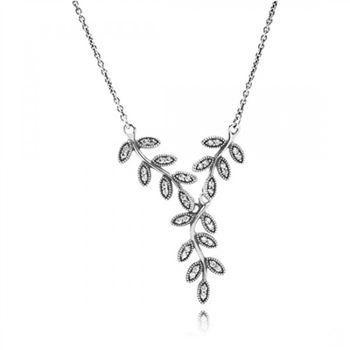 Pandora Sparkling Leaves Pendant Necklace Clear CZ