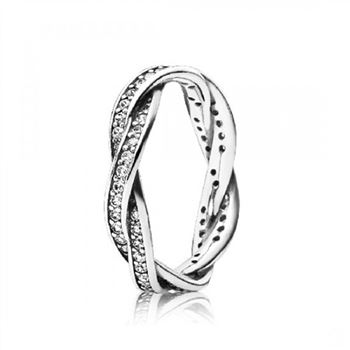 Pandora Twist Of Fate Stackable Ring Clear CZ