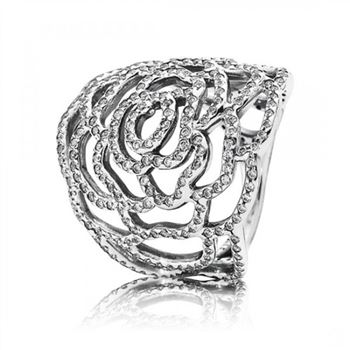 Pandora Shimmering Rose Ring Clear CZ