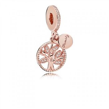 Pandora Family Heritage Dangle Charm Rose & Clear CZ