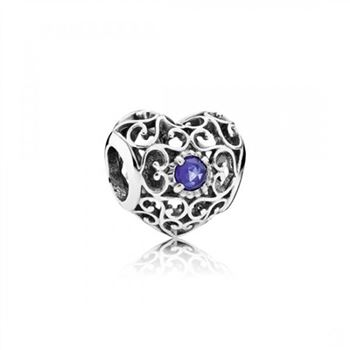 Pandora September Signature Heart, Synthetic Sapphire