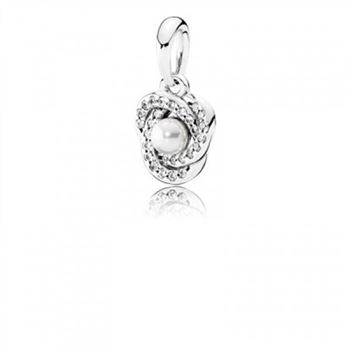 Pandora Luminous Love Knot White Crystal Pearl & Clear CZ