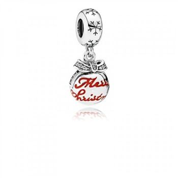 Pandora Merry Christmas Bauble Translucent Red Enamel & Clea